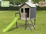 EXIT Aksent Spielhaus mit Podest, Veranda + Rutsche / Material: Nordisches Fichtenholz / Maße: 121x130x225 cm / Gewicht: 90 kg