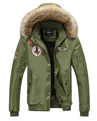 Tomwell uomo inverno sportiva manica lunga giacca cappuccio vento imbottita moda cappotto parka caldo giubbotto lunga cappotti verde eu xs