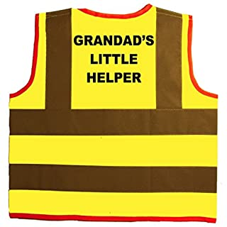 Grandad's Little Helper Baby/Children/Kids Hi Vis Safety Jacket/Vest Size 1-2 Years Yellow Optional Personalised On Front