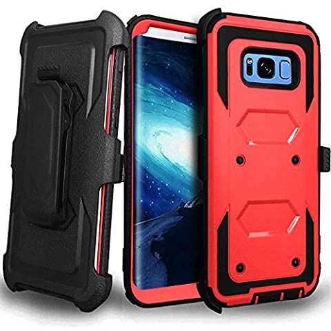 CellularOutfitter Samsung Galaxy S8 Plus Triple Protection Rugged and Holster Shell Combo Phone Case - Heavy Duty, Shock-Resistant - Red/Black