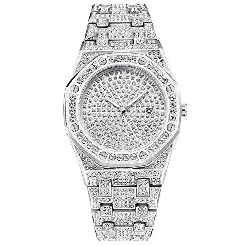 Sguan-wu Herren Uhren,Luxux-achteckige Skala-volle Rhinestone-analoge Kalender-Quarz-Armbanduhr Silver