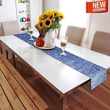 HOKIPO® PVC Table Runner for Dining Table, 30 x 180 cm, Dark Blue