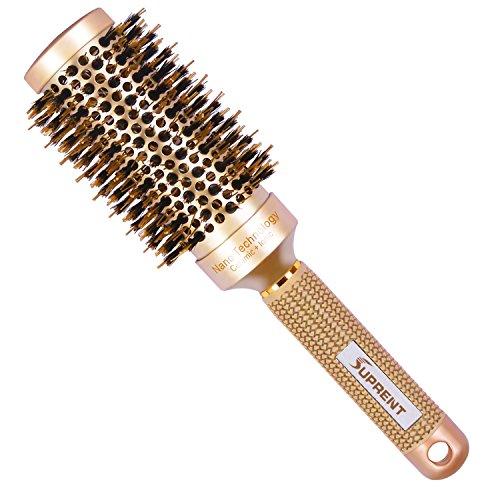 Suprent nano thermal ceramic & ionic round barrel hair brush con setole di cinghiale, 4,6cm, per asciugatura, styling, arricciare, aggiungere volume e lucentezza dei capelli, colore oro (4,6cm)