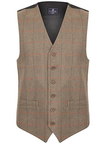 Herren Weste Braun Tweed Kariert Fischgräte Design (Größe L) Smith Weste