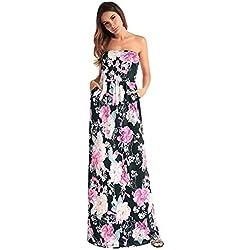 antaina Estampado de Flores Negro Fuera del Hombro Partido Sin Espalda Sexy Largo Vestido de Playa de Las Mujeres,S