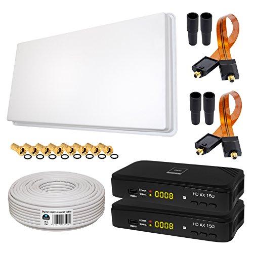 SAT KOMPLETT SET von HB-DIGITAL: Megasat Hochleistungs-Sat-Flachantenne ✨ H30D2-TWIN 2 Teilnehmer Direkt ➕ 2x Hochwertiger SAT-Recever ➕ Fensterhalterung ➕ 20m HQ-135 SAT-Kabel ➕ 2x SAT Fensterdurchführung GOLD ➕ 8x F-Stecker vergoldet ➕ 4x Gummitüllen ➕ 2x HDMI Kabel ■ FULL HD TV 3D 4K ■