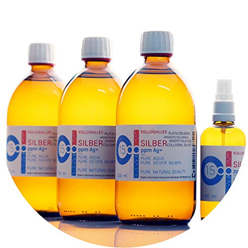 1600ml l'argent colloïdal PureSilverH2O© / 3x bouteilles (500 ml / 15 ppm) argent colloïdal + spray (100 ml / 15 ppm) - 99,99% d'argent fin