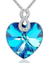 ANGELADY - Engel Herz - Anhänger Halskette für Frauen mit Kristallen von SWAROVSKI