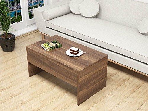 Table basse avec plateau relevable Smart - 90 x 45 cm - Marron