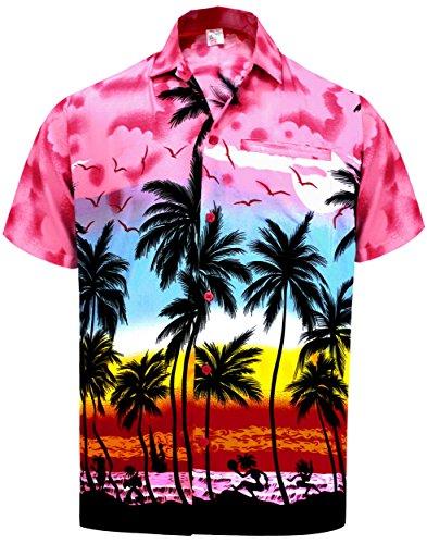 La Leela Likre Hawaiische Bademoden Palme Button Baum M�Nner Unten l�Ssig Aloha Shirt Pink (Unten Strand-taste Nach Shirt)