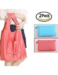 Yamde 2 Pcs Reusable Grocery Shopping Bag Tote Bag Folding Travel Recycle Bag Ripstop Nylon Tote Bag Foldable...