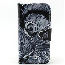 de-liggo ® Apple Iphone 6/6S caso, lujo elegante impresión dibujo diseño piel sintética cierre magnético Funda tipo cartera Ranura para tarjeta de Crédito Magnético con tapa protectora soporte Carcasa para Apple Iphone 6/6S búho iPod Touch 5