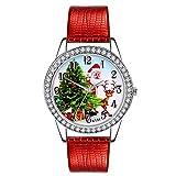 Ears Damen Weihnachten Armbanduhr Damen-Uhr Frauen Uhr Weihnachten Diamant Lederband Analog Quarz Vogue Armbanduhren GIF