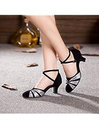 02ae961ea04 T.T-Q Chaussures de Danse pour Femme Talons Vernis en Cuir Talon cubain  Débutant Noir