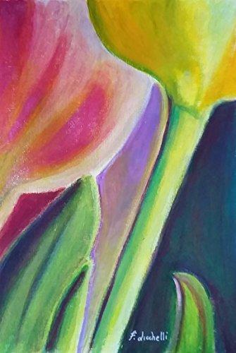 Tulipani rosa, giallo,dipinto originale,PEZZO UNICO,acrilico su carta