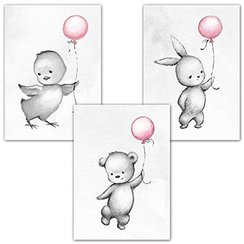 Frechdax® 3er Set Kinderzimmer Poster Babyzimmer DIN A4 ohne Bilderrahmen | Mädchen Junge | Kinderposter Kunstdruck im skandinavischen Stil | schwarz/weiss oder bunt | Set-19