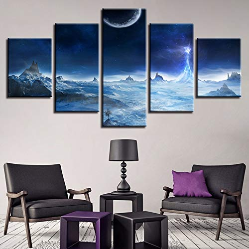 mmwin HD Druck Kunst Bilder 5 Stücke Mond Berg Stern Landschaft Leinwand s Modulare Poster Kunstwerke Wohnzimmer Wand-dekor (Tiffanys Breakfast At Sterne)