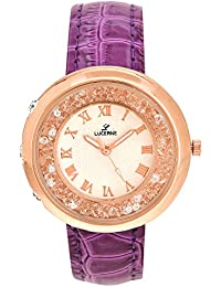 LUCERNE Analogue White Designer Dial Purple Leather Strap Casual Gift Watch For Women A Modern Ladies Watch Gifts...