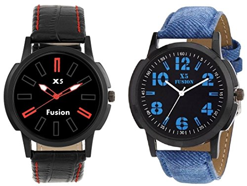 x5 Fusion combo of Men's watch RED 3 U AND BLUE JEANS  available at amazon for Rs.298
