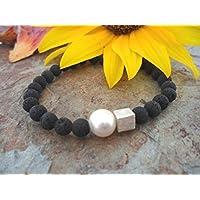 Armband: Lava & Perle & Silberwü