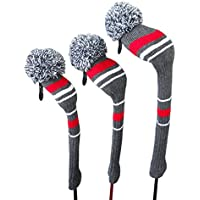 Grey Red White Stripes Warning Color Style Knit Golf Headcover, Set of 3 for Driver Wood(460cc) Fairway Wood and Hybrid/UT