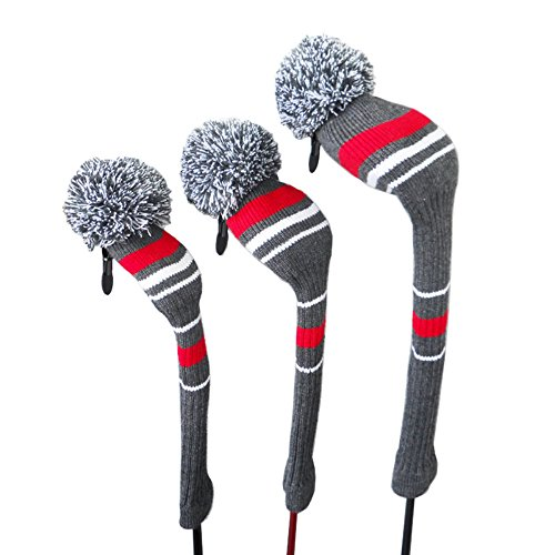 Knit Pom Pom Golf Headcovers Set of 3 for Driver Wood up to 460cc, Fairway Wood, and Hybrid