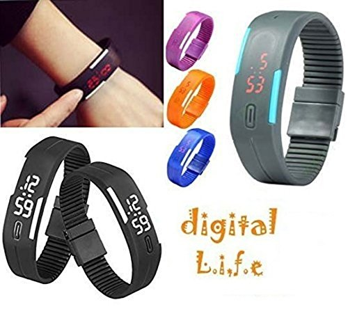 Voltac TPU Multicolour Rubber Silicone Led Trendy Digital Unisex Band - for...