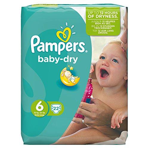 Pampers Baby-Dry Windeln Größe 6 (Extragroß) 15 Plus kg, 22 Windeln, 4er Pack (4 x 22 Stück)