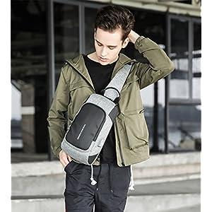51122TJNbzL. SS300  - FANDARE New Sling Bag Hombres Fiesta Portátil Bike Viaje Deporte Crossbody Bag Toma con Puerto de Carga USB Gran…
