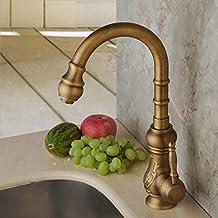 Hiendure® Latón de arco alto grifo de la cocina grifería de lavabo baño montadas en cubierta caño giratorio una sola palanca, latón antiguo