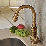 Hiendure®Unique Vintage Brass Rotary Kitchen Sink Mixer Tap Bathroom Sink Mixer Taps