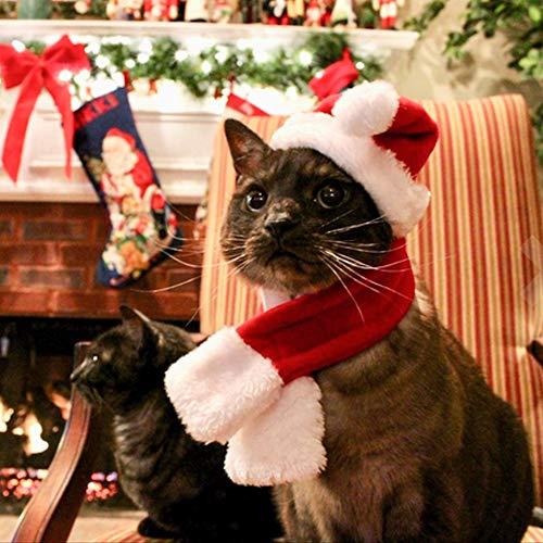 Mallalah Haustierkostüm Katzen Weihnachtsmütze Schal Set für Katzen und Hunde