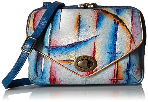 Anuschka handbemalte Ledertaschen, Schultertasche für Damen, Geschenk für Frauen, Handgefertigte Handtasche, Umhängetasche mit doppeltem Reißverschlussfach (Northern Skies 593 NSK)