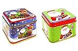 * 2er-Set Weihnachts-Dosen aus Metall | Keksdosen Geschenkdosen | ca. 7,5 x 7,5 x 6,5 cm