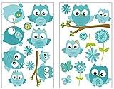 plot4u 19-teiliges Türkise Baby Eulen auf AST Wandtattoo Set Kinderzimmer Babyzimmer in 5 Größen (2x16x26cm Mehrfarbig)