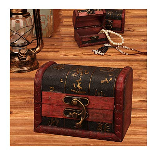 Yesot Vintage-Schmuckkästchen aus Holz für Mädchen, Damen, Halsketten, Ohrringe, Ringe, Uhren, Aufbewahrungsbox, Mini-Metallschloss zur Aufbewahrung von Schmuckkästen.