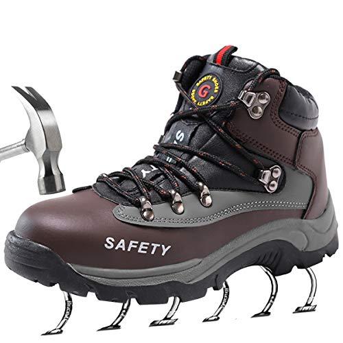 SUADEEX Uomo Donna Scarpe da Lavoro Stivaletti Antinfortunistiche con Punta in Acciaio Scarpe Sportive di Sicurezza Stivali da Neve Impermeabili Inverno Scarpe da Trekking Arrampicata