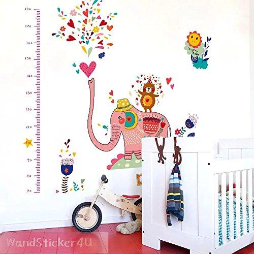 pared-sticker4u-vinilos-vara-de-medir-elefante-rosa-multicolor-efecto-de-180-x-150-cm-flores-oso-cor