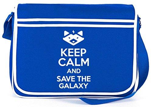Shirtstreet24, Keep Calm And Save The Galaxy, Retro Messenger Bag Kuriertasche Umhängetasche Royal Blau