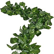156 Pies Fake Follaje Quirnalda Hojas Verdes Artificial Ivy Vine Plantas Decoración para Hogar Decoración Interior Al aire última Intervensión (Hojas de Scindapsus)