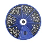 115pcs en acier inoxydable Pêche Split Anneaux kit Leurres de pêche Tackle avec ensemble de perle ronde Boîte de rangement, 6tailles Combo, bleu