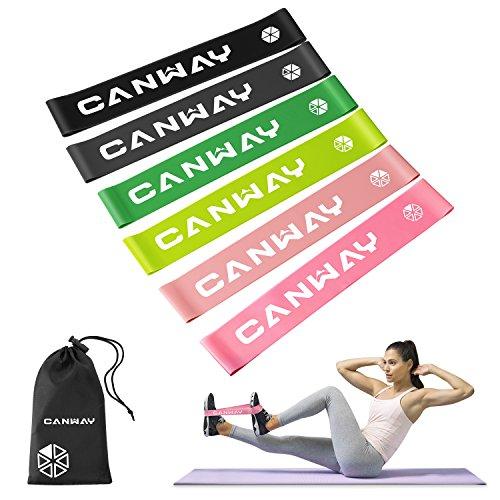 Photo Gallery canway bande elastiche fitness set di 6 elastici fitness 100% lattice naturale 30 × 5 cm, bande elastiche di resistenza esercizi per allenamento a domicilio, pilates, yoga, rehab, fisioterapia