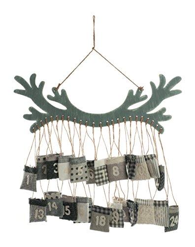 Festive Productions zum Aufhängen Holz Antler Adventskalender mit Taschen, Mehrfarbig