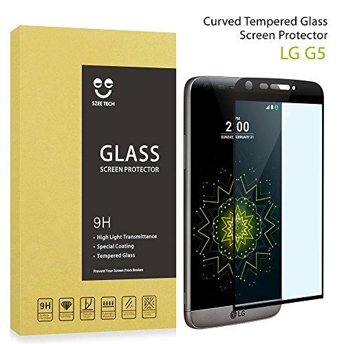 Premium-Proteggi schermo in vetro temperato per LG G4/G5 alta Defintion 3D, protezione completa, con pellicola salvaschermo, Anti-graffi, senza bolle, Anti-impronte, per LG [9H, trasparente,] nero nero LG G5