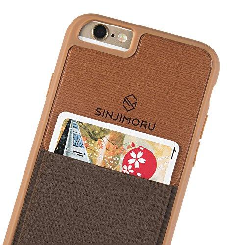 iPhone 6 / 6s Wallet Case, Sinjimoru iPhone 6 Hülle mit Kartenfach / iPhone 6 Schutzhülle mit Smart Wallet Kartenhalter. Sinji Pouch Case für iPhone 6 / 6s, Schwarz. Braun für iPhone 6