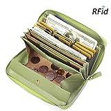 Damen Leder Geldbörse, Brenice RFID Rindleder Reißverschluss Lange Brieftaschen Große Kapazität 11 Kartenhalter Geldbörse für Frauen Grün