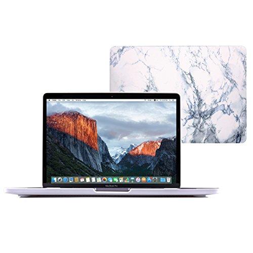 Se7enline Sanfte Schutzschale, Kunststoff, mit schwarzem Tastaturschutz aus Silikon und transparenter Displayschutzfolie, Design: schwarze Kreise, für Macbook White Marble Pattern