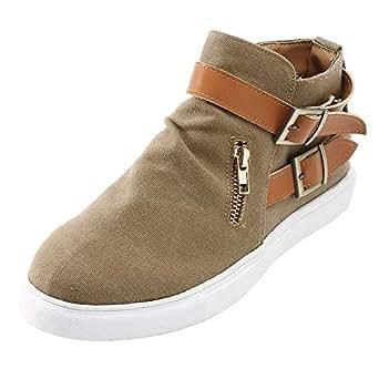 Fymia❤️❤️ Weinlese-Frauen-Flache Runde Zehe-Bequeme Segeltuch-Schuh-Reißverschluss-Einzelne Schuhe