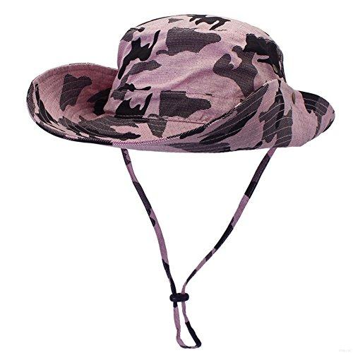 Upf Camo (GADIEMENSS Camo Outdoor UPF 50+ Boonie Hats Summer Sun Cap Wide Brim Fishing Hat (Camouflage Pink))