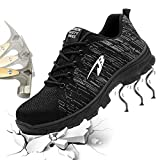 Gainow Mujer Hombre Zapatillas de Seguridad Punta de Acero Entrenador Unisex Zapatillas de Senderismo con Zapatos de Trabajo...